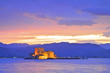 GR06555 Bourtzi Castle at Dusk, Nafplio, Argolis, The Peloponnese, Greece, Southern Europe