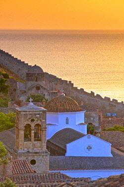 GR06562 Sunrise Over Monemvasia, Laconia, The Peloponnese, Greece, Southern Europe