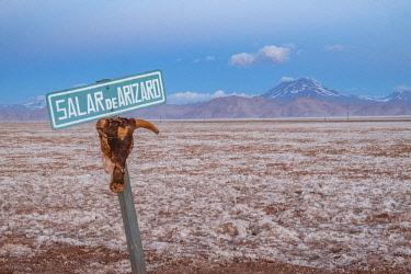 HMS3203189 Argentina, Salta province, Puna desert, Tolar Grande, Salar de Arizaro and volcan Aracar