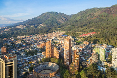 HMS2601867 Colombia, Cundinamarca department, Bogota, district of Centro, general view of the city from the Torre Colpatria