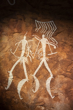 AZE0055AW Hunters. Gobustan Rock Art Cultural Landscape Reserve Museum. This reserve has an outstanding collection of more than 6.000 rock engravings bearing testimony to 40.000 years of rock art. Gobustan, A U...