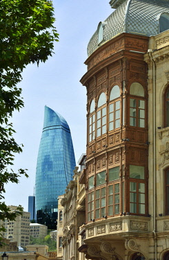 AZE0077AW Traditional and contemporary architecture in Baku. The Flame Towers seen from the Old City, a UNESCO World Heritage Site. Azerbaijan