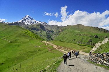 GEO0312AW Trekking on the slopes of Mount Kazbek (5047m), the third-highest peak in Georgia, bordering Russia. Khevi-Kazbegi region. Georgia, Caucasus