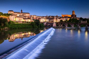 FRA10404AW River Tarn Reflections at Twilight, Albi, Occitanie, France