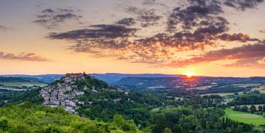 FRA10407AW Sunset over Cordes sur Ciel, Tarn, Occitanie, France