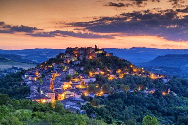 FRA10408AW Cordes sur Ciel at Twilight, Tarn, Occitanie, France