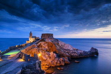 ITA13169AW St. Peter's Church at Twilight,  Portovenere, Liguria, Italy