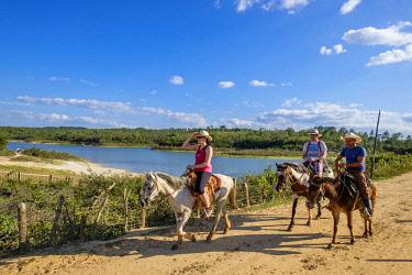 HMS3048763 Cuba, Pinar del Rio province, Vinales, Vinales national park, Vinales valley, a UNESCO World Heritage site, horse ride