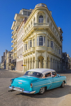 HMS3116102 Cuba, Havana, Habana Vieja district (UNESCO World Heritage site), Paseo de Marti or Prado, avenue lined with elegant mansions connecting the Malecon to the Capitol