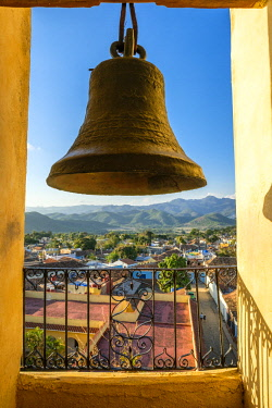HMS3119074 Cuba, Sancti Spiritus province, Trinidad, historic centre with colonial architecture (UNESCO World Heritage site), view from the bell tower of San Francisco de Asis convent, now Museum of the Fight ag...