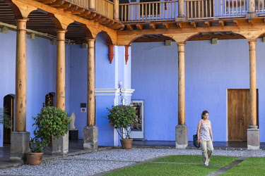 HMS2502569 Guatemala, Sacatepequez department, Antigua Guatemala, listed as World Heritage by UNESCO, Compania de Jesus church and convent, the restored convent houses an an international educational and cultura...