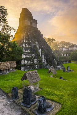HMS2502742 Guatemala, Peten department, Tikal National Park, a UNESCO World Heritage site, Gran Plaza, Temple I or Temple of the Great Jaguar