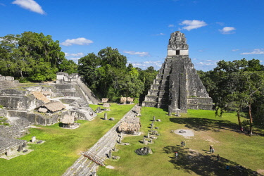HMS2502762 Guatemala, Peten department, Tikal National Park, a UNESCO World Heritage site, Gran Plaza, Temple I or Temple of the Great Jaguar