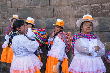 HMS2356778 Peru, Cusco Province, Cusco, listed as World Heritage by UNESCO, preparations for Inti Raymi or Sun Festival, an important Inca celebration that takes place every June 24 in the historic center of Cus...