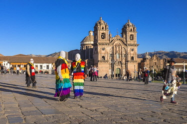 HMS2356781 Peru, Cusco Province, Cusco, listed as World Heritage by UNESCO, Plaza de Armas, La Compania de Jesus church, built in 1650 on the site of an Inca palace, it has a Baroque facade