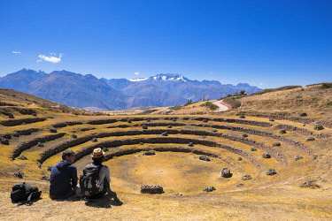 HMS2356859 Peru, Cusco Province, Incas Sacred Valley, Inca archeological site of Moray, served as agricultural research center, the big amphitheater and its circular terraces