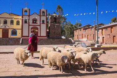 HMS2356913 Peru, Puno Province, Titicaca lake, Capachica peninsula, Llachon village
