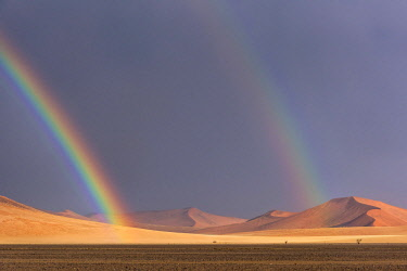 NAM6580AW Africa, Namibia, Sossusvlei area. Thunderstorm with rainbows in the desert.