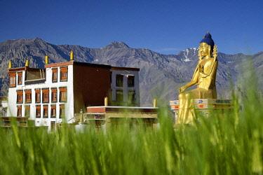 HMS3026559 India, Jammu and Kashmir State, Himalaya, Ladakh, Indus valley, Buddhist monastery of Likir and the 23m-high statue of Maitreya Buddha (future Buddha)