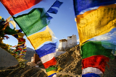 HMS3026575 India, Jammu and Kashmir State, Himalaya, Ladakh, Indus valley, Leh, Buddhist monastery of Namgyal Tsemo and prayer flags