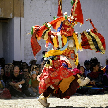 HMS3026583 India, Jammu and Kashmir State, Himalaya, Ladakh, Indus valley, festival at the Buddhist monastery of Phyang, sacred mask dances performed by monks