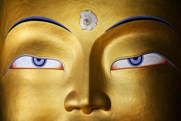 HMS3026590 India, Jammu and Kashmir State, Himalaya, Ladakh, Indus valley, Buddhist monastery of Thiksey, 15m-high statue of the Maitreya Buddha (future Buddha)