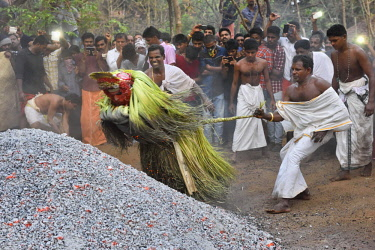 HMS2214624 India, Kerala, Kannur, Karuvalli Kavu, Theyyam Thee Chamundi thrown on a pyre
