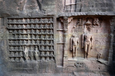 HMS3138857 India, Madhya Pradesh State, Gwalior, ancient statues of Jain Tirthankaras on the Gopachal Parvat