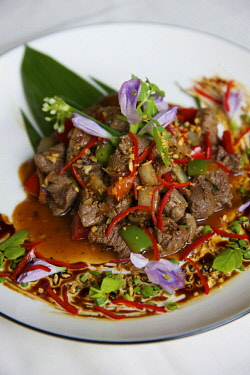 HMS3199555 Cambodia, Siem Reap, beef dish with red ants served in a khmer restaurant