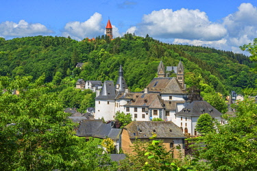 LUX0028AW View at Clervaux with castle, church and cloister, UNESCO World Heritage Site, Kanton Clervaux, Luxembourg