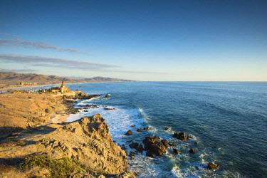 AURBRCA003196 Scenic view of coastline with horizon over sea, Los Cerritos, Baja California Sur, Mexico