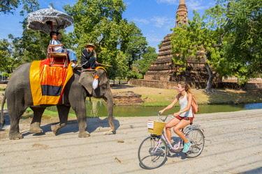 HMS3042820 Thailand, province of Phra Nakhon Si Ayutthaya, Ayutthaya, tourist walk on the back of elephants among the ruins