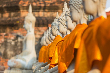 HMS3042829 Thailand, province of Phra Nakhon Si Ayutthaya, Ayutthaya, listed as World Heritage by UNESCO, Wat Yai Chai Mongkhon, Buddha statues