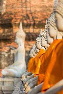 HMS3042830 Thailand, province of Phra Nakhon Si Ayutthaya, Ayutthaya, listed as World Heritage by UNESCO, Wat Yai Chai Mongkhon, Buddha statues
