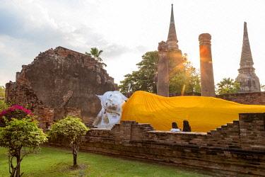 HMS3042834 Thailand, province of Phra Nakhon Si Ayutthaya, Ayutthaya, listed as World Heritage by UNESCO, Wat Yai Chai Mongkhon, Buddha statues