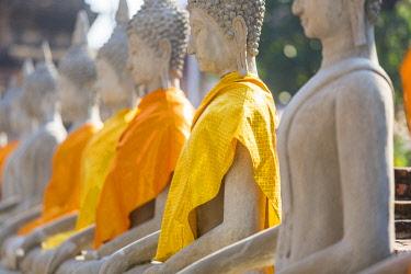HMS3042838 Thailand, province of Phra Nakhon Si Ayutthaya, Ayutthaya, listed as World Heritage by UNESCO, Wat Yai Chai Mongkhon, Buddha statues