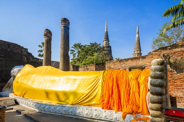 HMS3042839 Thailand, province of Phra Nakhon Si Ayutthaya, Ayutthaya, listed as World Heritage by UNESCO, Wat Yai Chai Mongkhon, Lying Buddha
