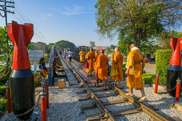 HMS3105350 Thailand, Kanchanaburi province, Kanchanaburi, where the Khwae Noi and Khwae Yai Rivers converge, the Burma-Siam Railway or Death Railway, bridge over the Khwae river