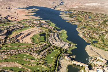 USA, Las Vegas, Henderson, Nevada. An aerial view of Lake Las Vegas development with a replica of Florence's Ponte Vecchio Bridge in the foreground. It is now a hotel operated by Hilton Hotels.