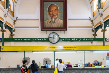 HMS2479830 Vietnam, Ho Chi Minh City (Saigon), the central station with the portrait of Ho Chi Minh