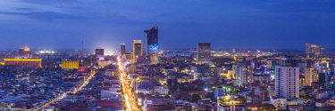 CM02146 Cambodia, Phnom Penh, elevated city skyline along Monivong Boulevard, dusk