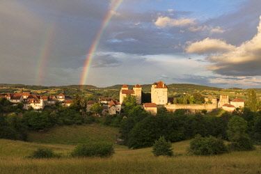 FRA10451AW Europe, France, Nouvelle-Aquitaine,  Correze, Dordogne Valley, a rainbow over the village of Curemonte