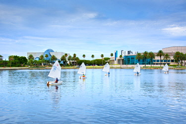 US11942 Florida, Saint Petersburg, Salvador Dali Museum, Mahaffey Theater, Sailboats, Tampa Bay