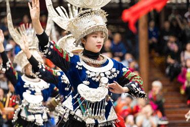 CLKNM89196 Miao singing and dancing show, Xijiang Thousand Houses Miao Village, Guizhou, China