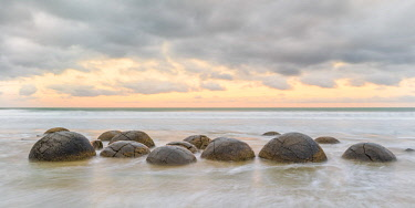CLKFV91047 Moeraki Boulders at sunset. Hampden, Waitaki district, Otago region, South Island, New Zealand.