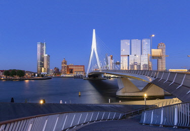 NLD0889AW Erasmus Bridge (Erasmusbrug) at dusk, Rotterdam, Zuid Holland, Netherlands