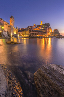 CLKAP76230 Vernazza, 5 Terre, Province of La Spezia, Liguria, Italy. Blue hour at Vernazza.