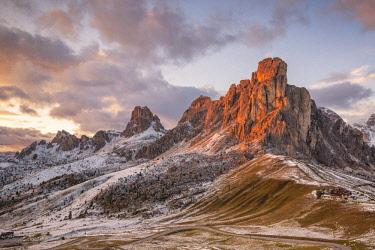CLKFM90889 Mount Ra Gusela at sunset, Giau pass,Colle Santa Lucia,Belluno district, Veneto, Italy