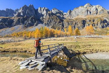 CLKGP88195 A girl is walking in the Alpe Veglia and Alpe Devero Natural Park in autumn season (Buscagna Valley, Alpe Devero, Baceno, Verbano Cusio Ossola province, Piedmont, Italy) (MR)
