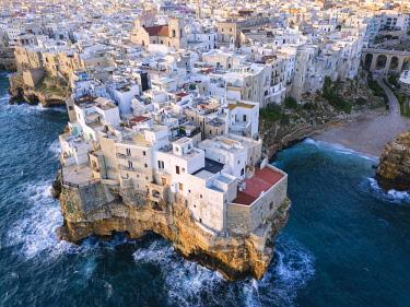 CLKMR92664 Polignano a Mare aerial view, Bari district, Puglia, Italy